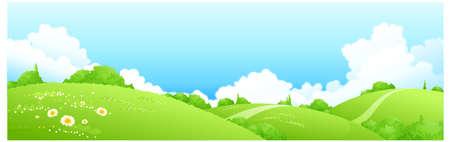 ce: Cette illustration est un paysage naturel commun. Paysage de printemps Illustration