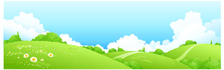 landscape painting: This illustration is a common natural landscape. Spring landscape