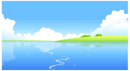 This illustration is a common natural landscape. lake Stock Vector - 15881627