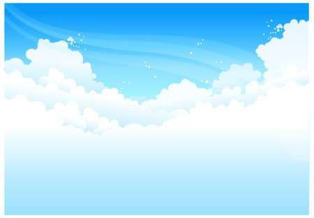 This illustration is a common natural landscape. Clouds In Blue Sky Stock Vector - 15881678