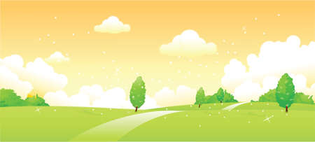 This illustration is a common natural landscape. Curved path over green landscape Stock Vector - 15901092