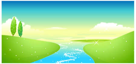 This illustration is a common natural landscape. Lake and green landscape Stock Vector - 15900883