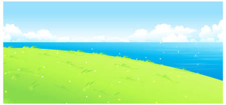 This illustration is a common natural landscape. Lake and green landscape Stock Vector - 15887414