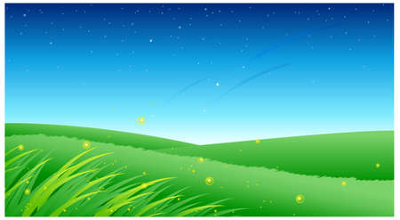 This illustration is a common natural landscape. Green landscape with blue sky Stock Vector - 15901488