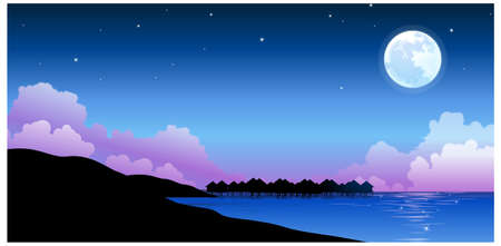 This illustration is a common natural landscape. Full moon over peaceful water landscape Vector