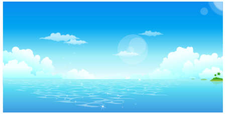 This illustration is a common natural landscape. Ocean with blue sky Stock Vector - 15881682
