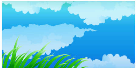 This illustration is a common natural landscape. Close-up Of Clouds In Blue Sky  Vector