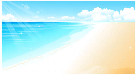 This illustration is a common natural landscape. Coastline at Beach  Stock Vector - 15881584
