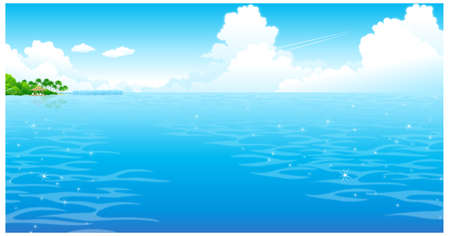 This illustration is a common natural landscape. Ocean with clouded sky Stock Vector - 15901412