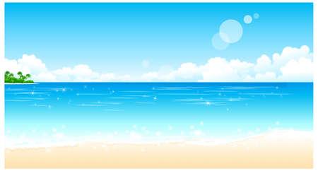panorama beach: Questa illustrazione � un paesaggio naturale comune. Beach Idillio