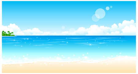 This illustration is a common natural landscape. Idyllic Beach  Stock Vector - 15901586