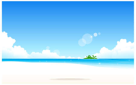 This illustration is a common natural landscape. Idyllic Beach  Vector