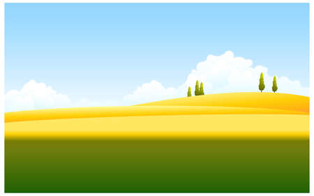 This illustration is a common natural landscape. Green and yellow landscape with blue sky Vector