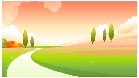 dramatic sky: Esta ilustraci�n es un paisaje natural com�n. Camino curvo sobre el paisaje verde Vectores