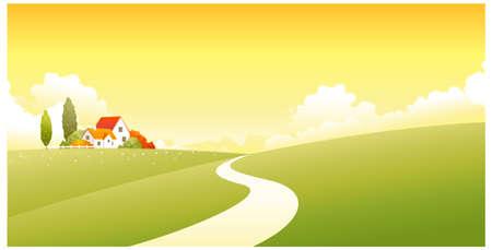 dramatic sky: Esta ilustraci�n es un paisaje natural com�n. Casa en un paisaje verde