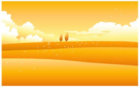 dramatic sky: Esta ilustraci�n es un paisaje natural com�n. Paisaje amarillo con cielo nublado