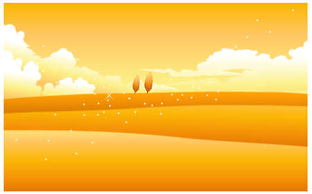 This illustration is a common natural landscape. Yellow landscape with clouded sky Stock Vector - 15900944
