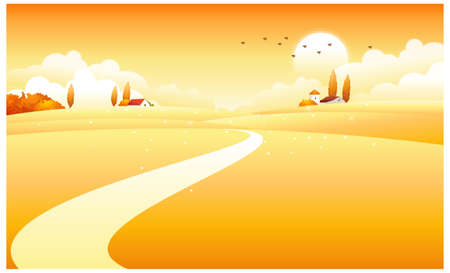 curved path: This illustration is a common natural landscape. countryside scene Illustration