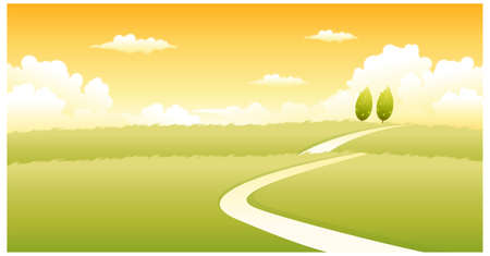 This illustration is a common natural landscape. Curved path over green landscape Stock Vector - 15881311