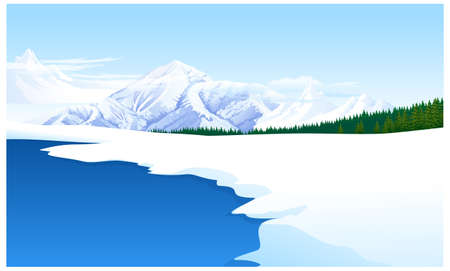 This illustration is a common natural landscape. Panoramic view of a snowcapped landscape Vector