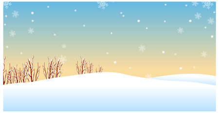 This illustration is a common natural landscape. Winter landscape  Vector