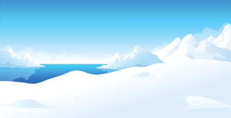 This illustration is a common natural landscape. Winter landscape  Stock Vector - 15880995