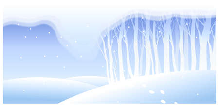This illustration is a common natural landscape. Trees covered with snow on a landscape Stock Vector - 15881388