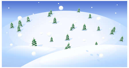 This illustration is a common natural landscape. Fir trees over snowcapped landscape Stock Vector - 15901079