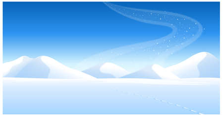 This illustration is a common natural landscape. Footprints on the snowcapped landscape and Aurora Borealis in sky Vector