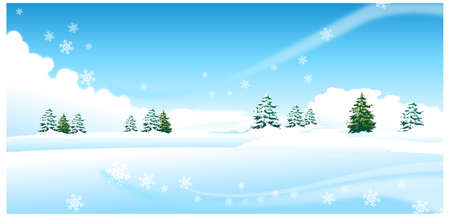 This illustration is a common natural landscape. Fir trees over snow landscape Stock Vector - 15901080