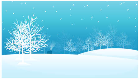 This illustration is a common natural landscape. Snow landscape with trees and a house Vector