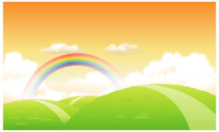 This illustration is a common natural landscape. Green landscape with a rainbow in the background Stock Vector - 15900888