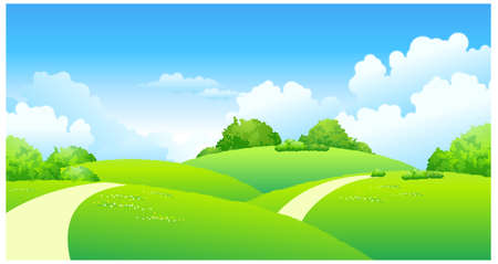 This illustration is a common natural landscape. Curved path over green landscape Stock Vector - 15881645