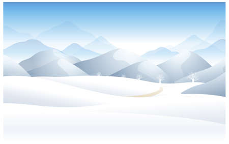 winter scene: This illustration is a common natural landscape. Winter landscape