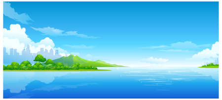 This illustration is a common natural landscape. City skyline and sea Stock Vector - 15901018