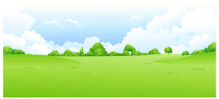 This illustration is a common natural landscape. Green landscape with blue sky Stock Vector - 15881812