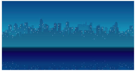 This illustration is a common cityscape. City Skyline and waterfront at Night Stock Vector - 15880231