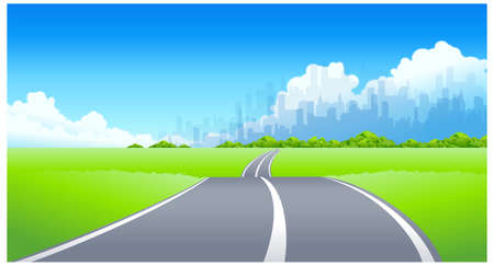 This illustration is a common cityscape. City Skyline and Road passing through a landscape Stock Vector - 15887393