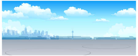 This illustration is a common natural landscape. City skyline Stock Vector - 15881555