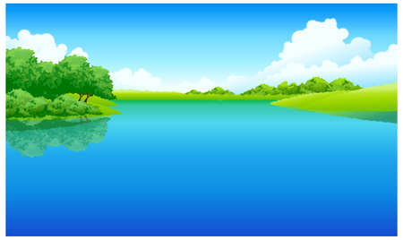 This illustration is a common natural landscape. Lake and green landscape Stock Vector - 15881716
