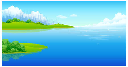 This illustration is a common natural landscape. City skyline and sea Stock Vector - 15881782
