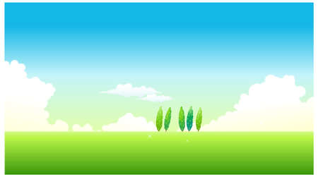 This illustration is a common natural landscape. Green Landscape With Blue Sky Stock Vector - 15881130