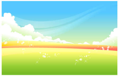 This illustration is a common natural landscape. Green Landscape With Blue Sky Stock Vector - 15881593