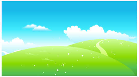 This illustration is a common natural landscape. Green Landscape Stock Vector - 15881557