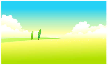 This illustration is a common natural landscape. Green Landscape With Blue Sky Stock Vector - 15881128