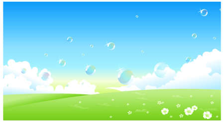 This illustration is a common natural landscape. Spring landscape Vector