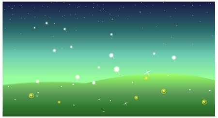 This illustration is a common natural landscape. Green Landscape at night Stock Vector - 15881661