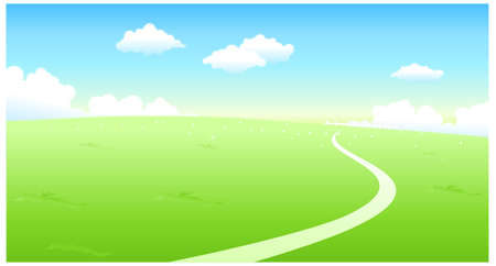 This illustration is a common natural landscape. Curved path over green landscape Vector