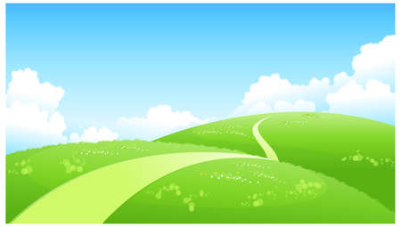 This illustration is a common natural landscape. Curved path over green landscape Stock Vector - 15881400