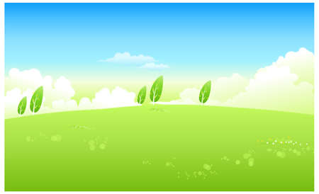 This illustration is a common natural landscape. Green Landscape With Blue Sky Stock Vector - 15881592